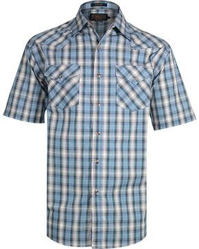 Pendleton Men's Plaid Short Sleeve Western Shirt, Aqua, hi-res