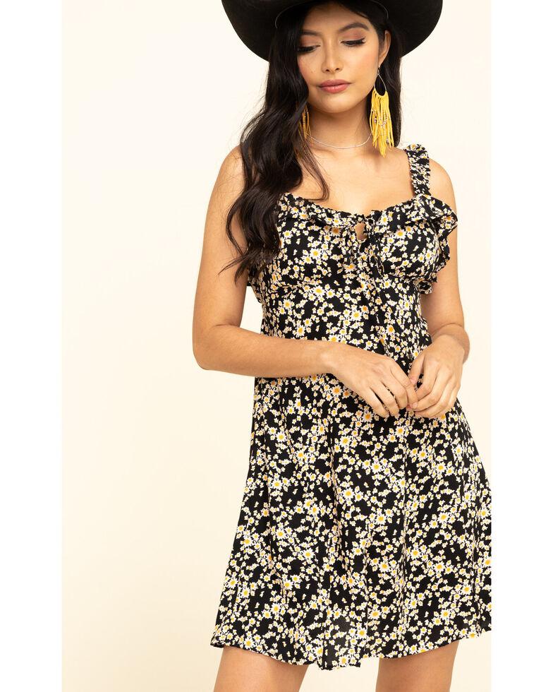 Angie Women's Daisy Tie Front Ruffle Sundress , Black, hi-res
