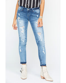 Grace in LA Women's Distressed Patch Skinny Jeans , Indigo, hi-res