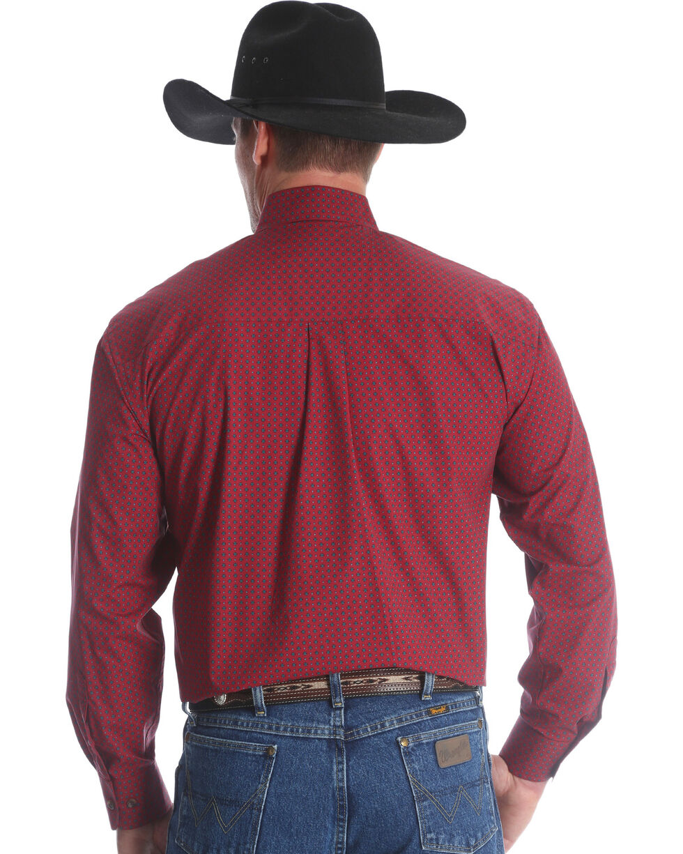 George Strait by Wrangler Men's Red Button Down Western Shirt , Red, hi-res