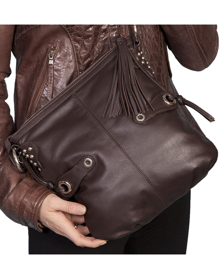 Scully Brown Leather Shoulder Bag, Brown, hi-res