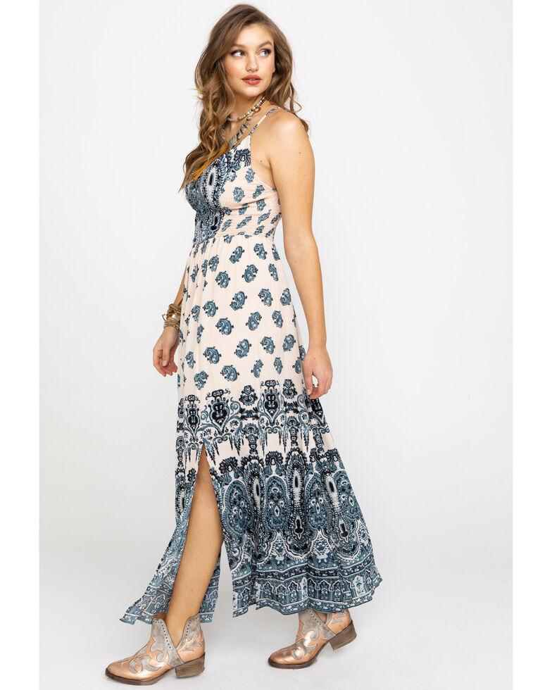 ba78d31b Zoomed Image Angie Women's Cream & Blue Paisley Print Maxi Dress, Blue,  hi-res