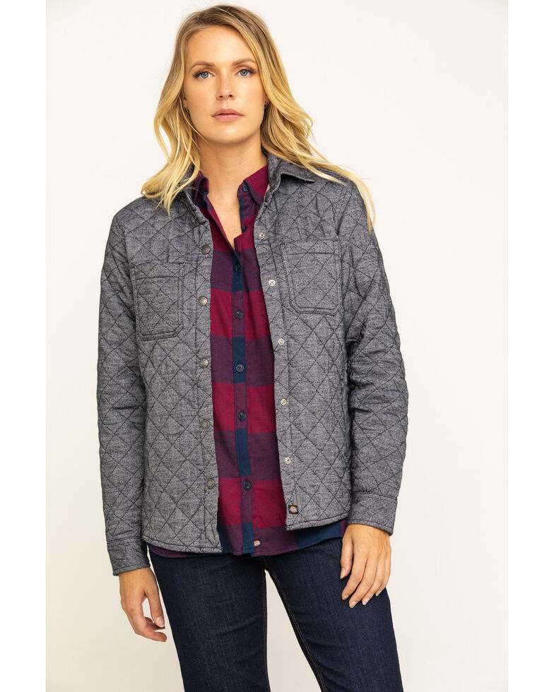 Dickies Women's Quilted Flannel Shirt Jacket , Grey, hi-res