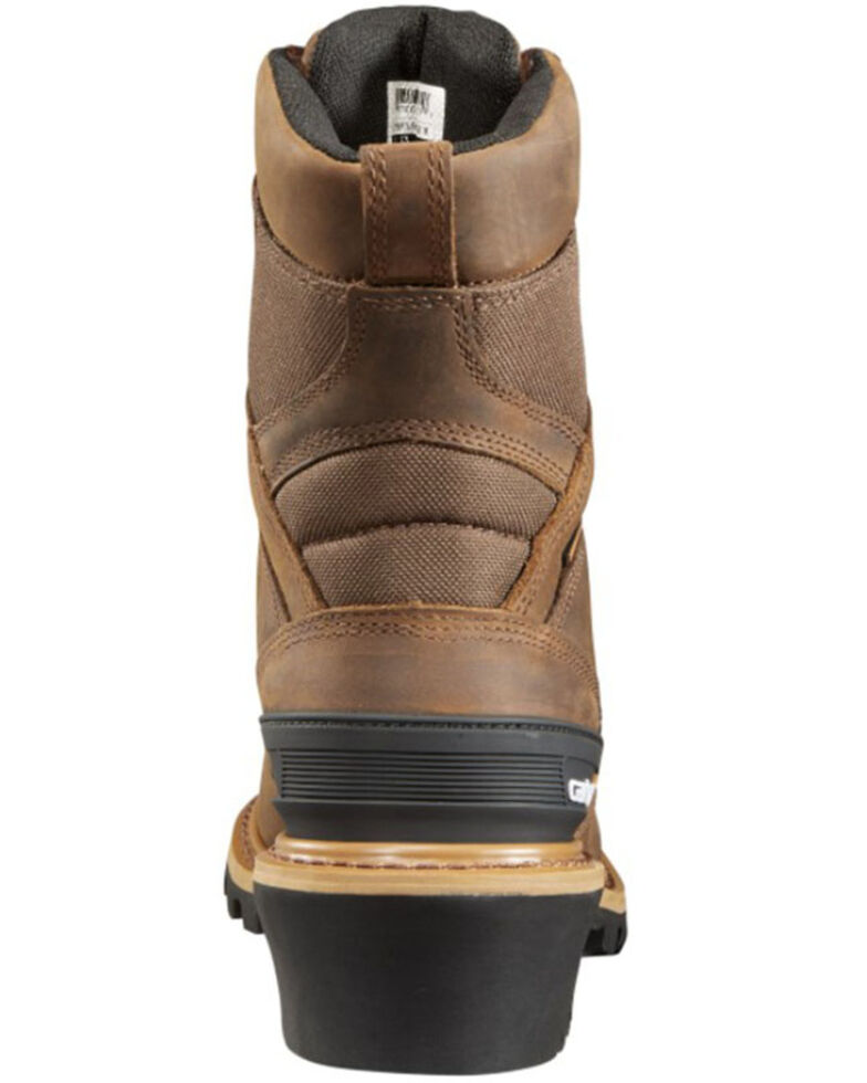 "Carhartt 8"" Brown Waterproof Logger Boots - Composite Toe, Crazyhorse, hi-res"