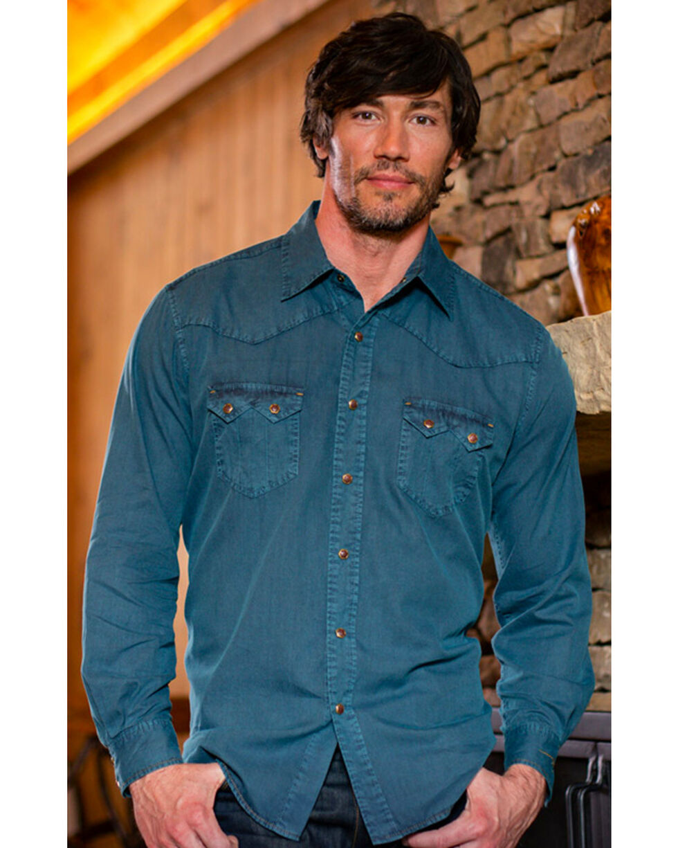Ryan Michael Men's Teal Saw Tooth Western Shirt , Teal, hi-res