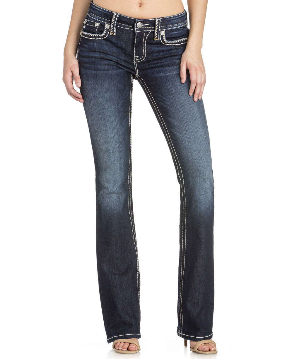 Miss Me Woman's Dark Wash Boot Cut Jeans, Blue, hi-res