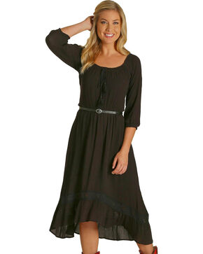 Wrangler Women's Black High-Low Hem Dress , Black, hi-res