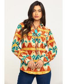 Wrangler Women's Aztec Fleece Button Down Shirt, Cream, hi-res