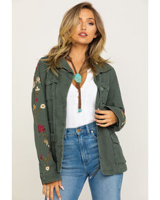 Driftwood Women's Olive Floral Embroidered Anorak Shacket , Olive, hi-res
