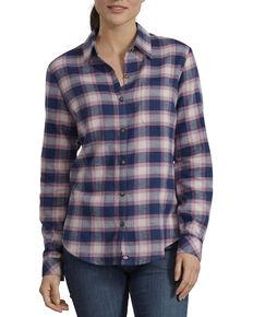 Dickies Women's Plaid Long Sleeve Flannel Shirt, Dark Blue, hi-res