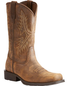 Ariat Men's Brown Western Rambler Vintage Bomber Boots - Square Toe , Brown, hi-res