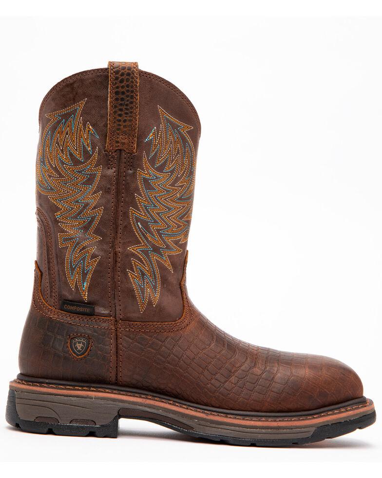 eaefe9fdd33 Ariat Brown Croc Print Workhog Work Boots