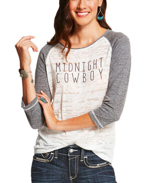 Ariat Women's Midnight Cowboy Long Sleeve T-Shirt, White, hi-res