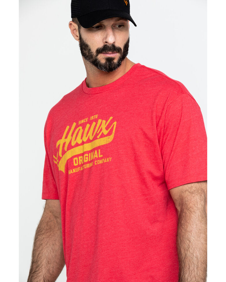 Hawx Men's Red Original Script Graphic Work T-Shirt , Heather Red, hi-res