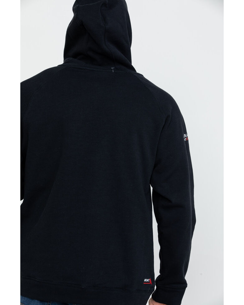 Ariat Men's Black FR Primo Fleece Logo Hooded Work Sweatshirt - Big , Black, hi-res