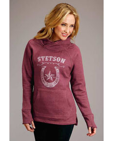 Stetson Women's Red Horseshoe Sweatshirt , Red, hi-res