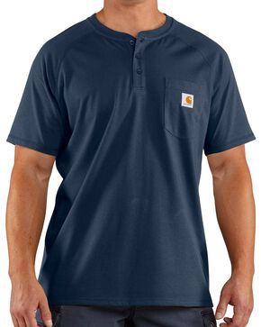 Carhartt Men's Force Short Sleeve Henley, Navy, hi-res