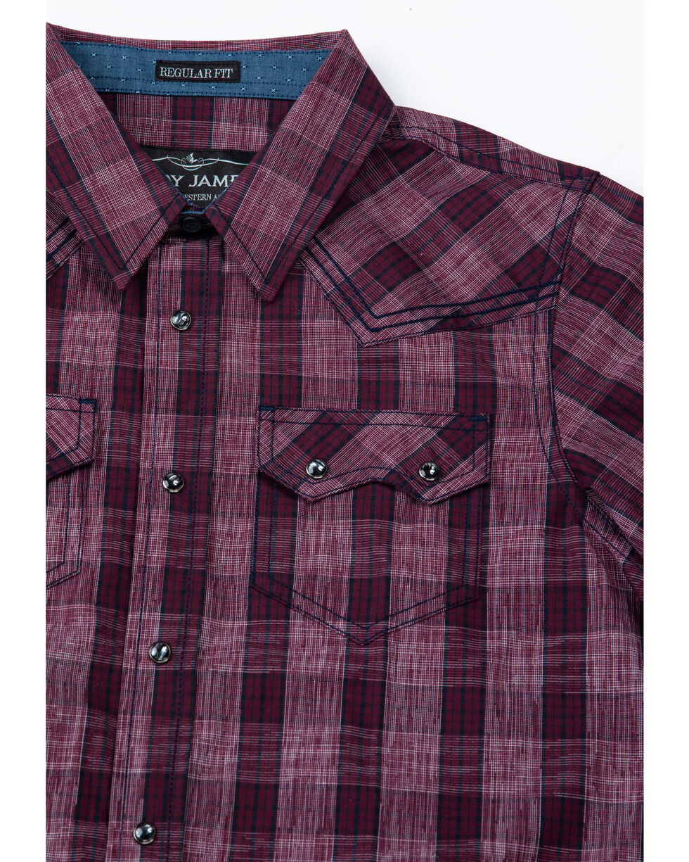 Cody James Boys' Chicken Wire Textured Plaid Long Sleeve Western Shirt , Red, hi-res