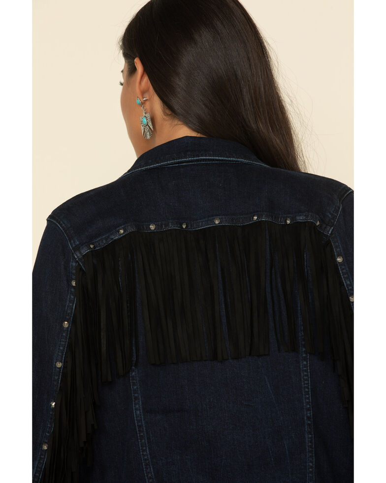 Idyllwind Women's Fringe Fever Denim Jacket, Dark Blue, hi-res