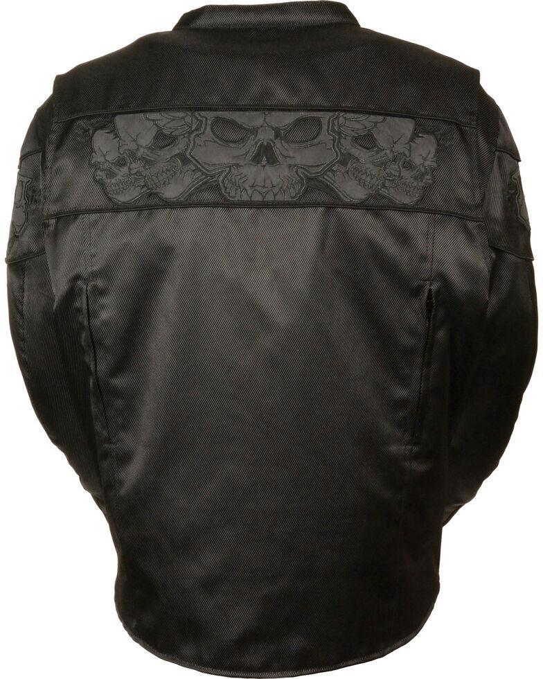 Milwaukee Leather Men's Reflective Skulls Textile Jacket - Big - 3X, Black, hi-res
