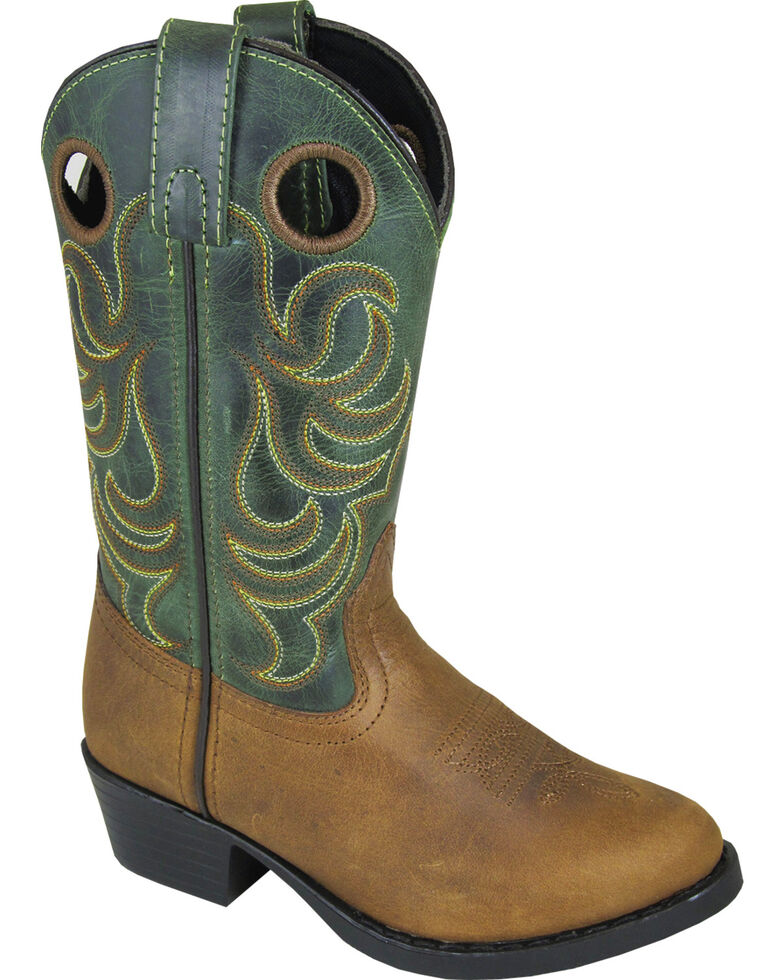 Smoky Mountain Youth Boys' Henry Distressed Leather Western Boot - Round Toe, Brown, hi-res