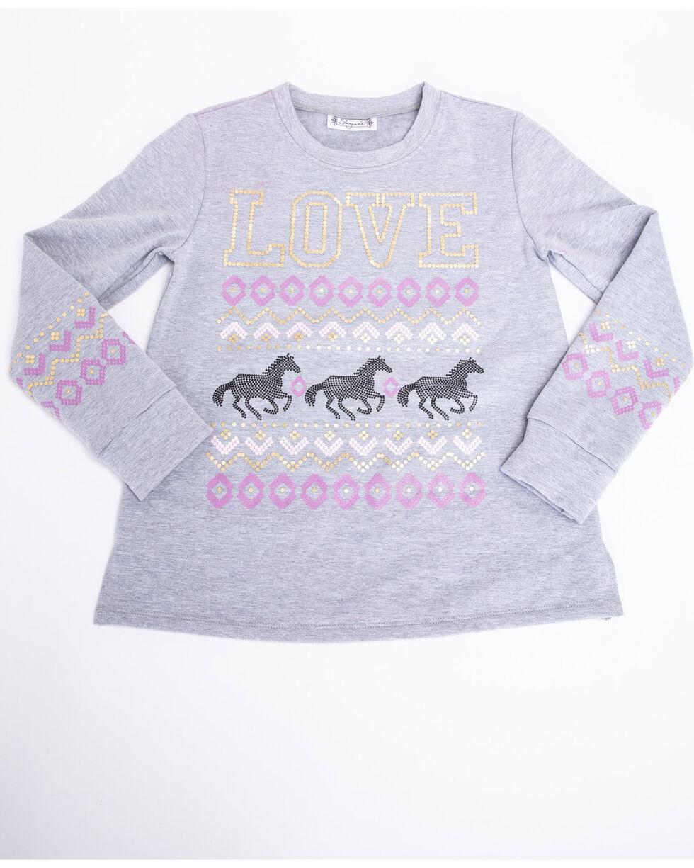 Shyanne Girls' Love Horses Beanie 3 Piece Set , Purple, hi-res