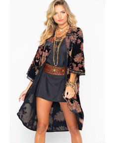 Miss Me Women's Floral Duster , Black, hi-res