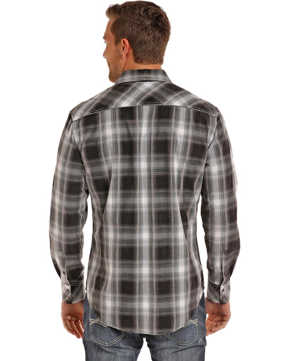 Rock & Roll Cowboy Men's Black Crinkle Plaid Shirt , Black, hi-res