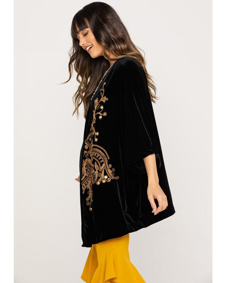 White Label by Panhandle Women's Gold Embroidered Velvet Kimono, Black, hi-res