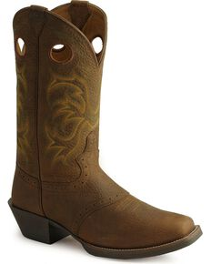 Justin Men's Stampede Punchy Western Boots, Dark Brown, hi-res