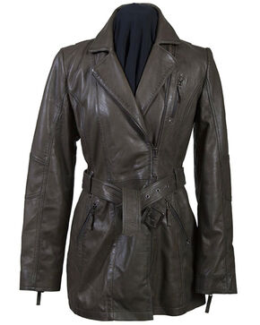 Leatherwear by Scully Women's Olive Belted Thigh Length Coat, Olive, hi-res