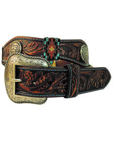 Roper Men's Scalloped Round Dome Concho Tooled Buckle Belt , Brown, hi-res
