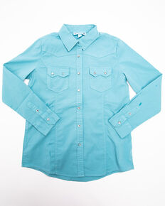 a41e509198642a Shyanne Girls Mineral Wash Solid Long Sleeve Western Shirt, Teal, hi-res