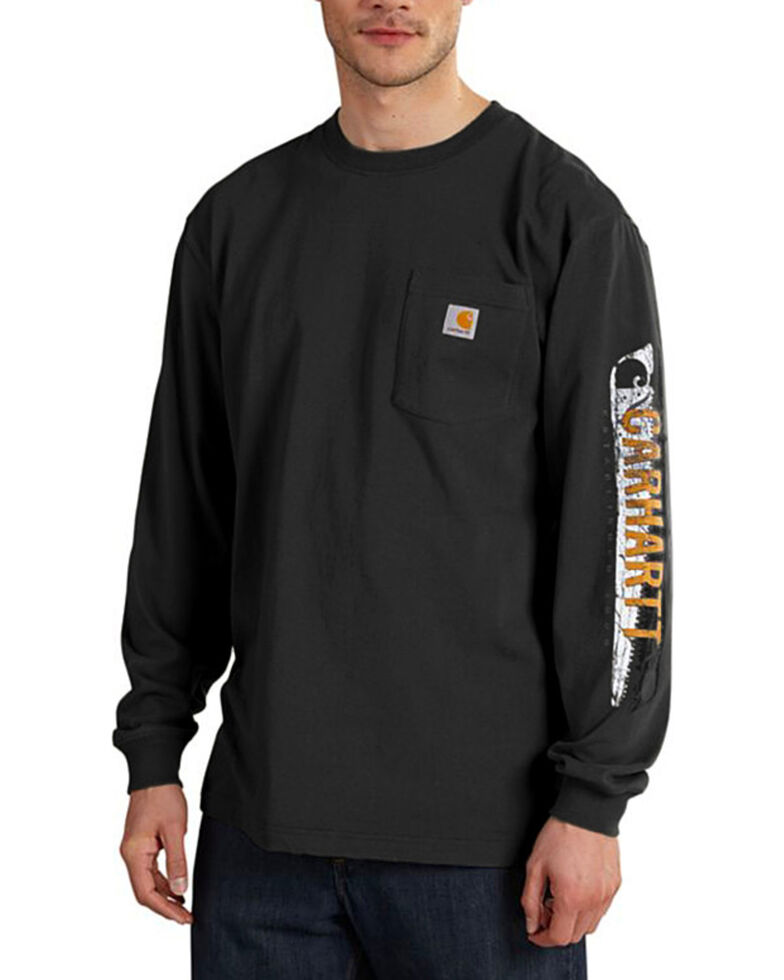 Carhartt Workwear Men's Saw Graphic Long Sleeve T-Shirt, Black, hi-res