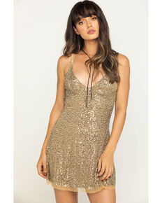 Free People Women's Gold Rush Mini Dress, Gold, hi-res
