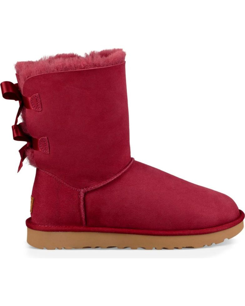 UGG Women's Rose Bailey Bow II Boots - Round Toe , Wine, hi-res