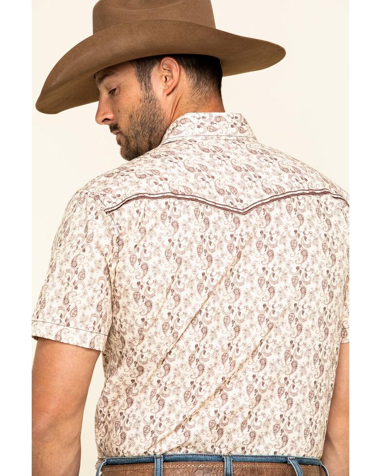 Cowboy Hardware Men's Tan Tonal Paisley Print Short Sleeve Western Shirt , Tan, hi-res