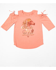 Shyanne Girls' Raglan Horse Cold Shoulder Tee, Pink, hi-res