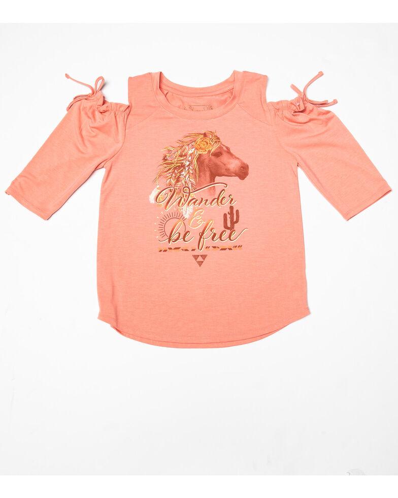 Shyanne Girls' Raglan Horse Cold Shoulder Tee, Pink, hi-res