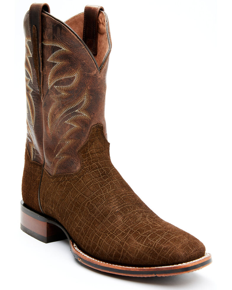 Dan Post Men's Hippo Print Western Boots - Wide Square Toe, Brown, hi-res