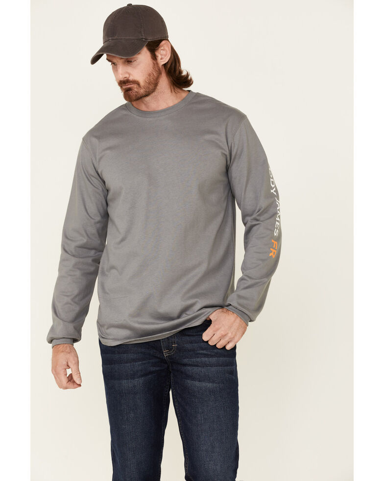 Cody James Men's Light Grey FR Logo Long Sleeve Work T-Shirt , Light Grey, hi-res