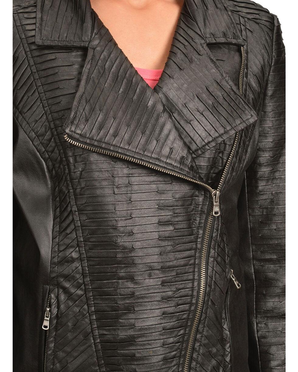 Erin London Women's Black Faux Leather Motorcycle Jacket, Black, hi-res