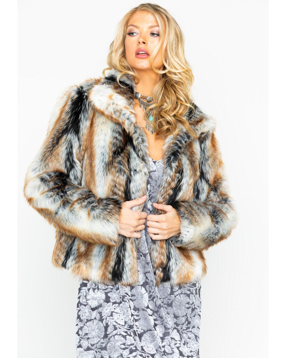 Angie Women's Open Front Faux Fur Jacket , Brown, hi-res