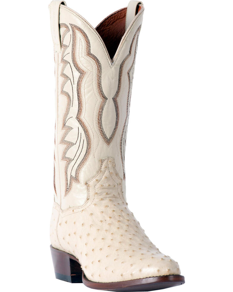269d0a5bcd4 Dan Post Men's White Pershing Full Quill Ostrich Boots - Medium Toe
