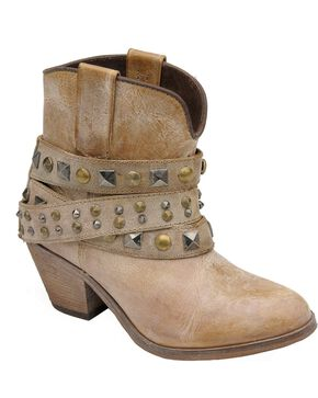 Circle G Women's Studded Strap Booties - Round Toe, Tan, hi-res
