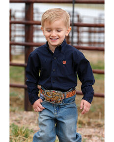 Cinch Toddler Boys' Multi Geo Print Button Long Sleeve Western Shirt , Navy, hi-res
