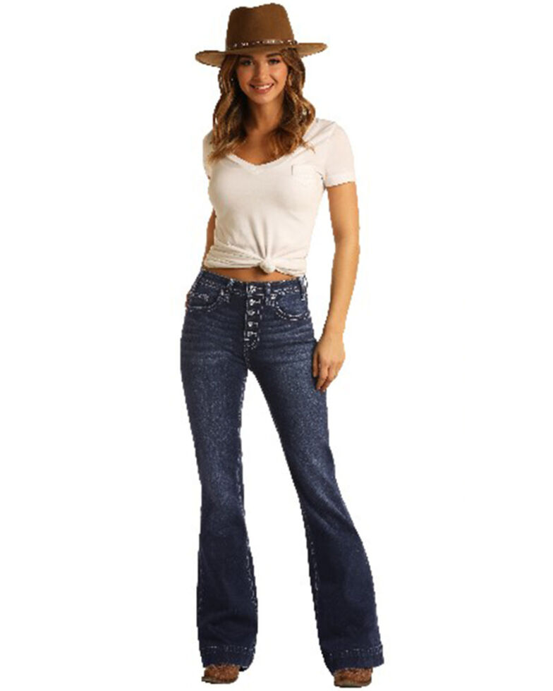 Rock & Roll Denim Women's Button Front Bootcut Jeans, Blue, hi-res