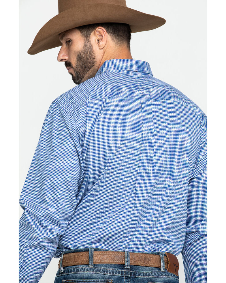 Ariat Men's Gonzales Stretch Check Plaid Long Sleeve Western Shirt - Tall , Blue, hi-res