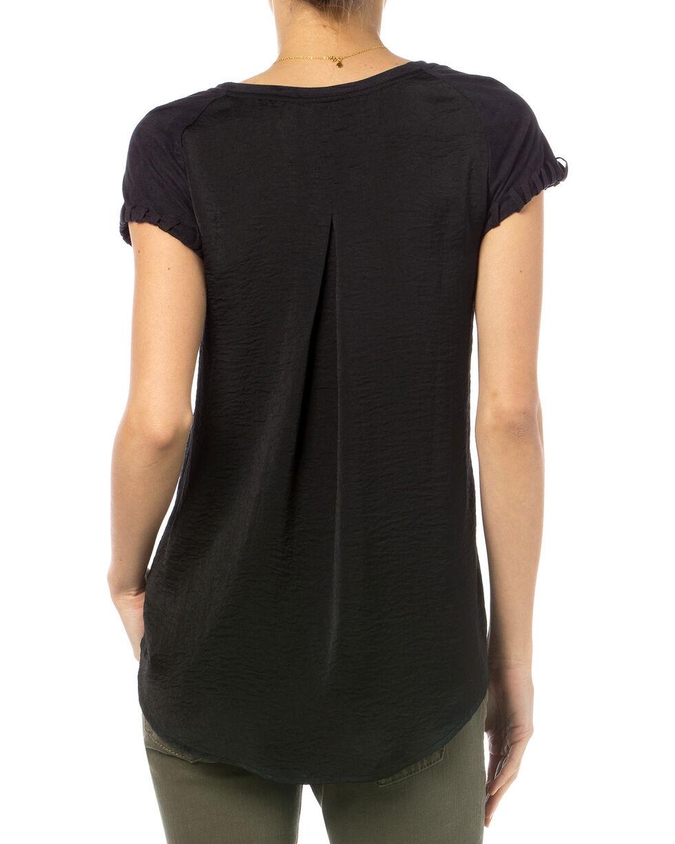 Miss Me Black Suede Raglan Sleeve V-Neck Top , Black, hi-res