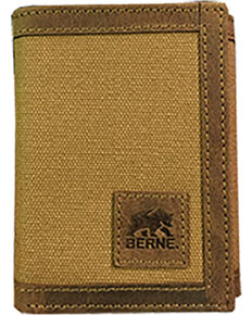 Berne Men's Genuine Leather Tri-Fold Wallet , Brown, hi-res